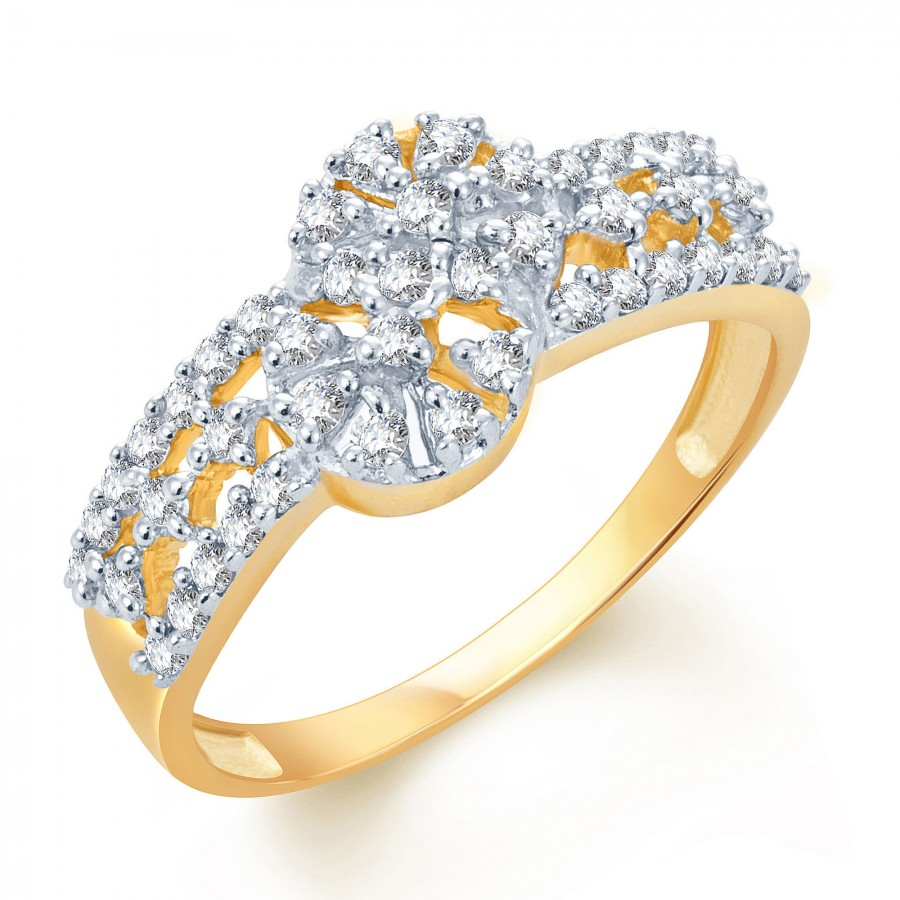 Buy Pissara Ravishing Gold and Rhodium Plated CZ Ring Online
