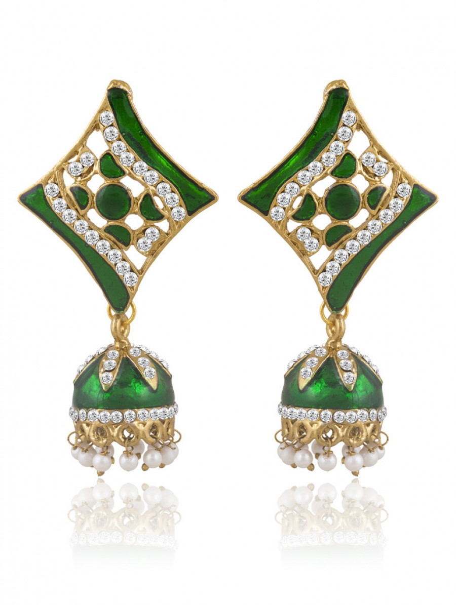 Buy Sukkhi Ravishing Meenakari Gold Plated AD Earring For Women Online