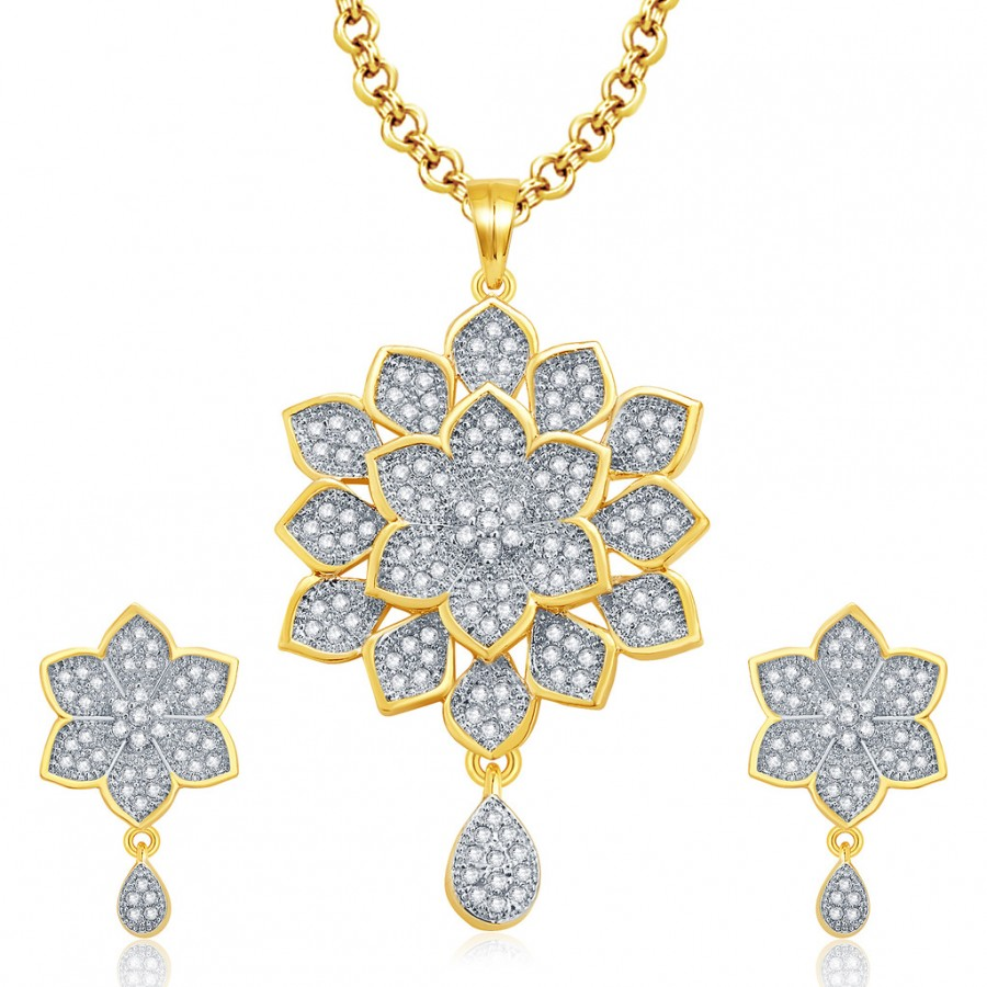 Buy Pissara Incredible Gold And Rhodium Plated CZ Pendant Set For Women Online