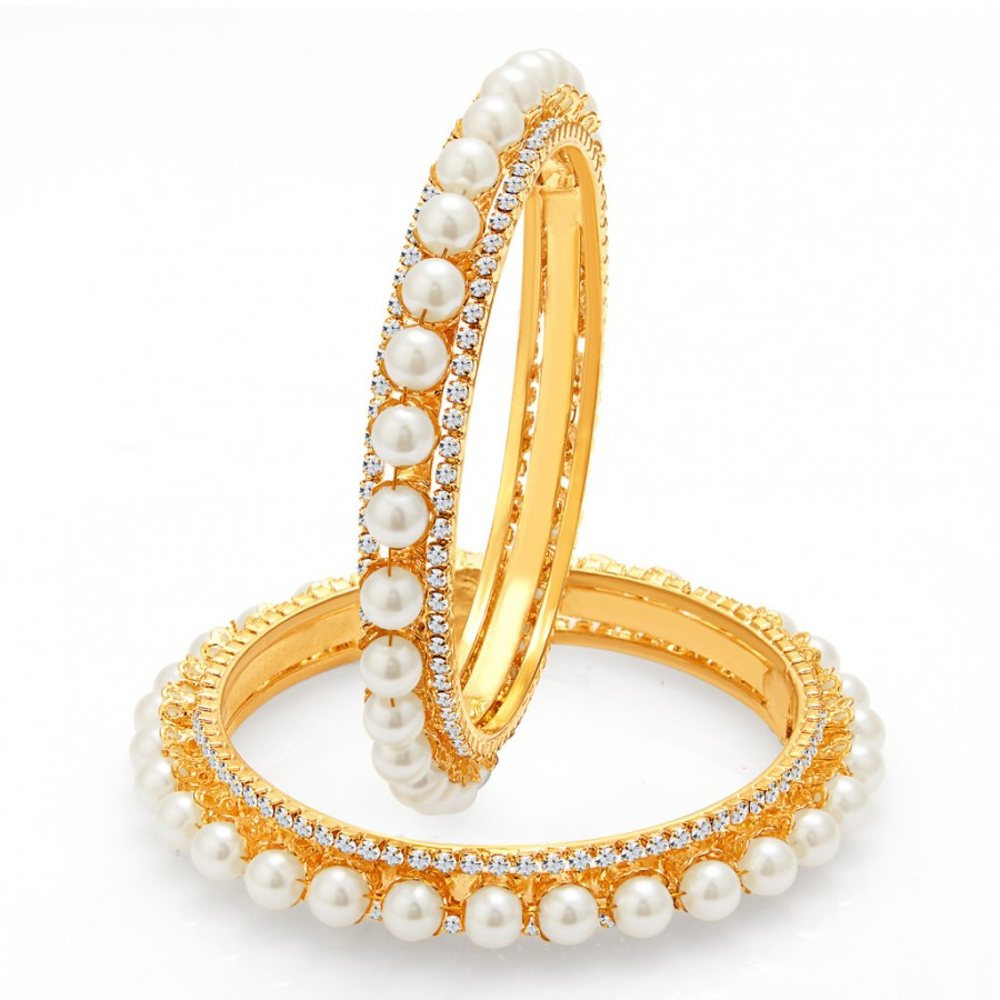 Buy Sukkhi Finely Gold Plated Pearl Bangle For Women Online