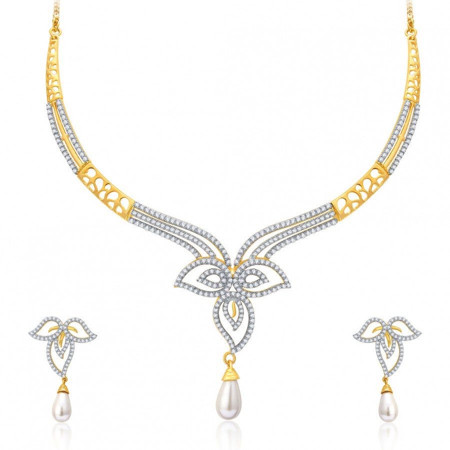 Buy Pissara Intricate Gold And Rhodium Plated CZ Neklace Set For Women Online