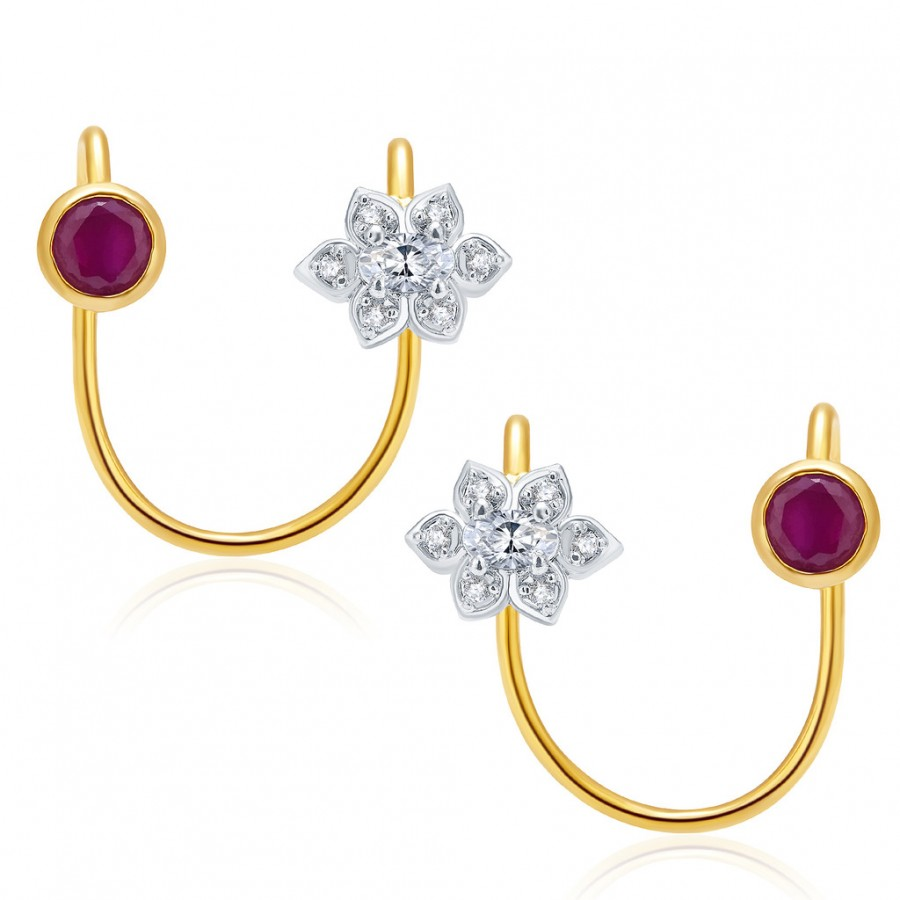 Buy Pissara Bliss Gold And Rhodium Plated Ruby CZ Earcuff For Women Online