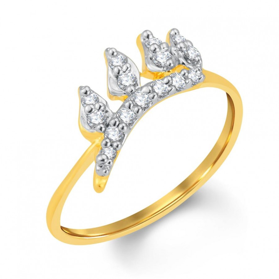 Buy Pissara Stylish Gold and Rhodium Plated Cubic Zirconia Ring Online