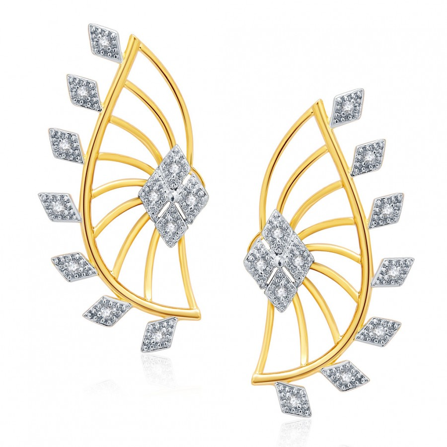 Buy Pissara Edgy Gold And Rhodium Plated CZ Earcuff For Women Online
