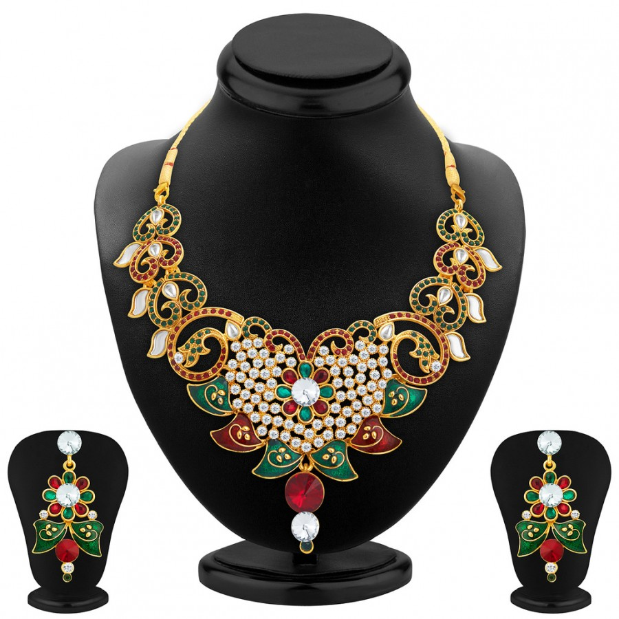 Buy Sukkhi Gleaming Gold Plated AD Necklace Set For Women Online