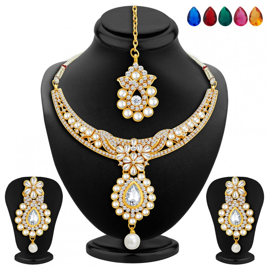 Buy Sukkhi Delightly Gold Plated AD Necklace Set with Set of 5 Changeable Stone Online