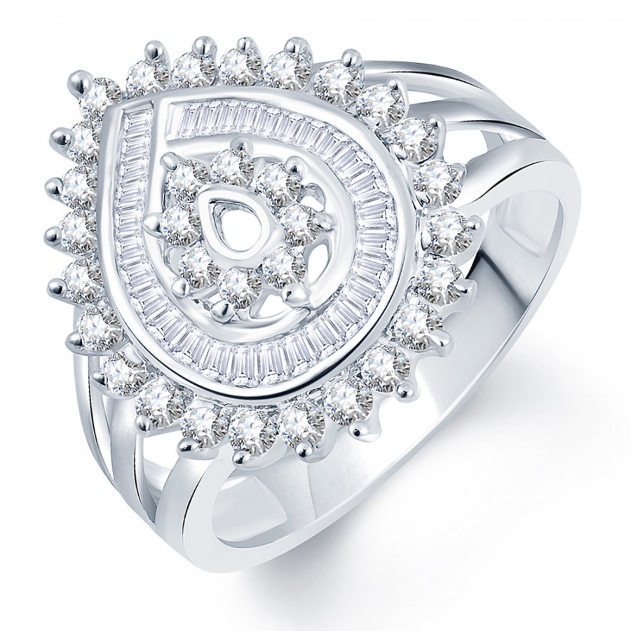 Buy Pissara Divine Flower Rhodium Plated CZ Ring Online