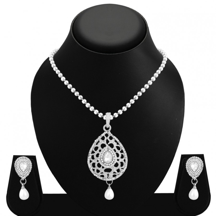 Buy Sukkhi Incredible Rhodium Plated AD Pendant Set For Women Online
