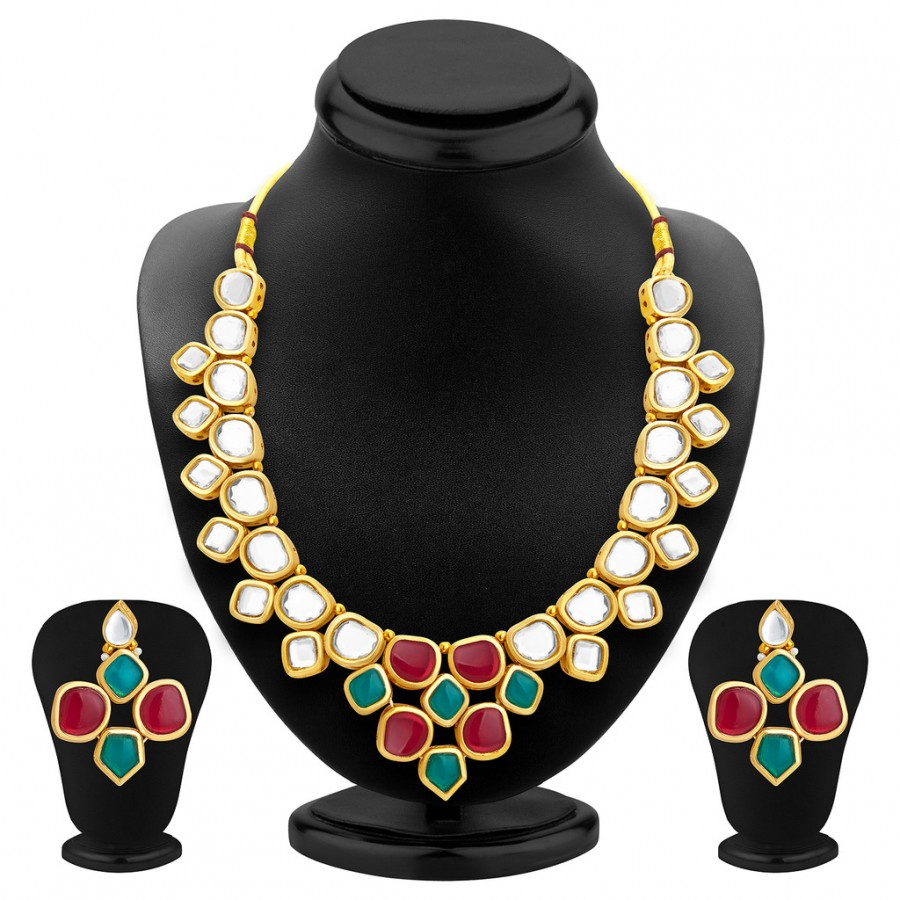 Buy Sukkhi Resplendent Gold Plated Kundan Necklace Set For Women Online