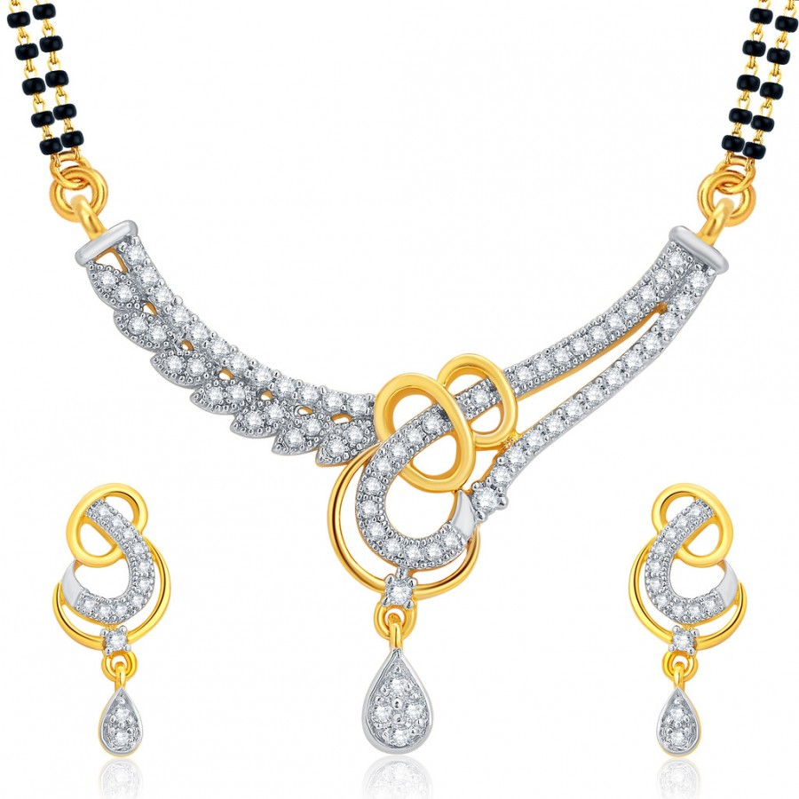 Buy Pissara Royal Gold and Rhodium Plated CZ Mangalsutra Set For Women Online