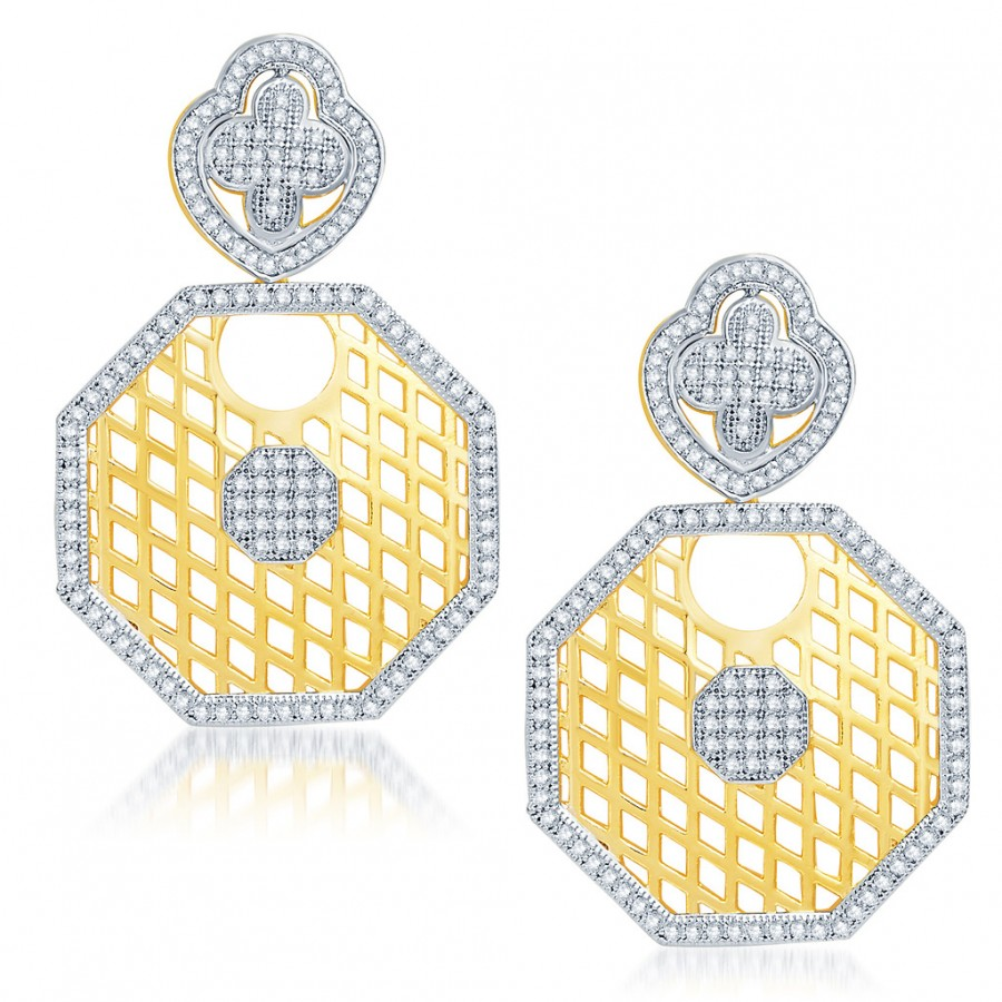 Buy Pissara Lavish Gold and Rhodium Plated Cubic Zirconia Earrings Online