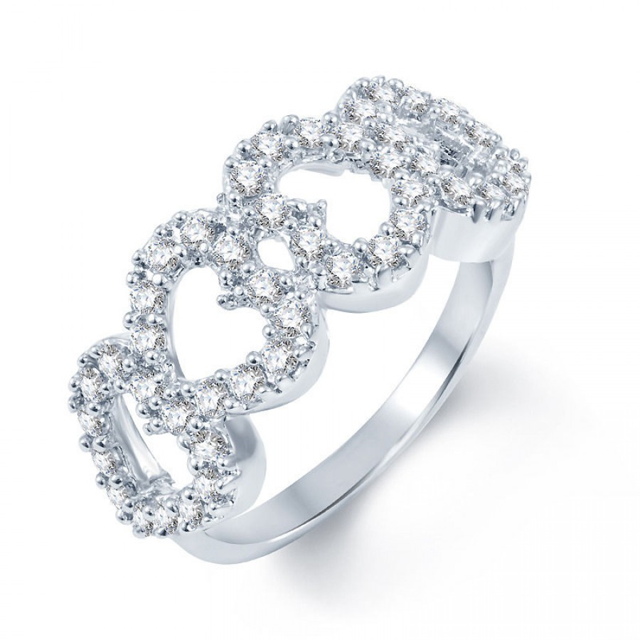 Buy Pissara Gleaming Rodium plated CZ Studded Ring Online