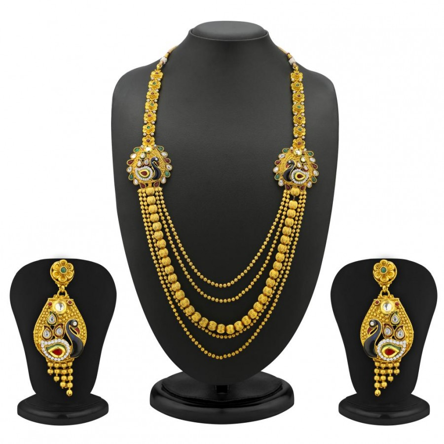 Buy Sukkhi Trendy 5 Strings Gold Plated Peacock Antique Necklace Set Online