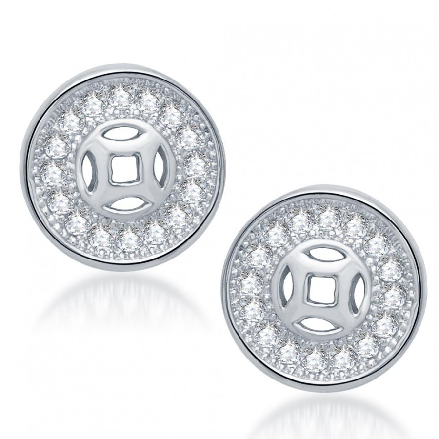 Buy Pissara Fashionable Rhodium Plated Micro Pave CZ Earrings Online