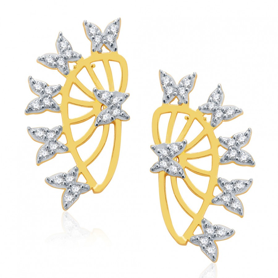 Buy Pissara Jubilant Gold And Rhodium Plated CZ Earcuff For Women Online