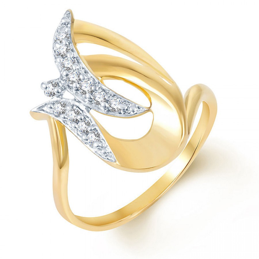 Buy Pissara Fascinating Gold and Rhodium Plated CZ Ring Online