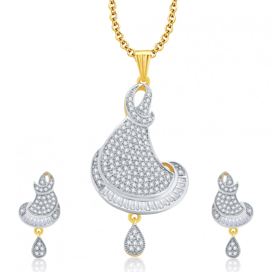 Buy Pissara Glitzy Gold And Rhodium Plated CZ Pendant Set For Women Online