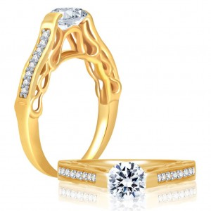 Buy Pissara Marvellous Gold and Rhodium Plated Cubic Zirconia Stone Studded Solitaire Ring Online