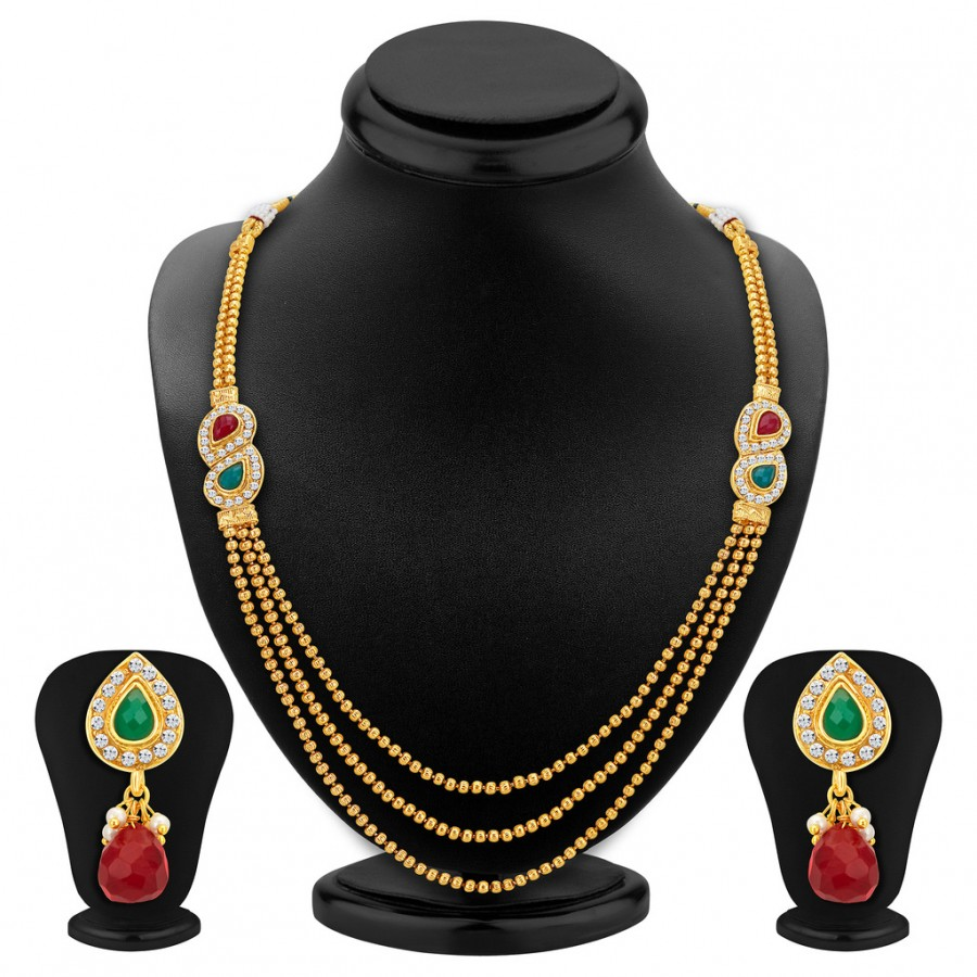 Buy Sukkhi Gorgeous Three Strings Gold Plated Necklace Set Online