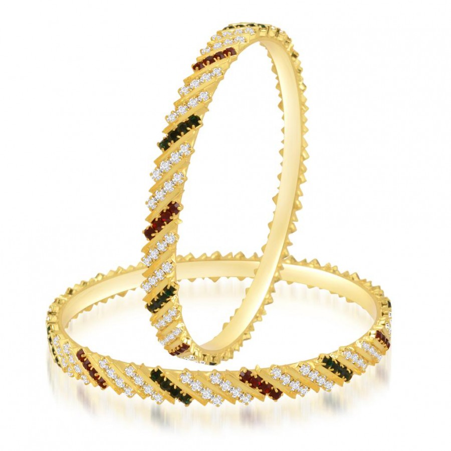 Buy Sukkhi Marvelous Gold Plated Australian Diamond Stone Studded Bangles Online