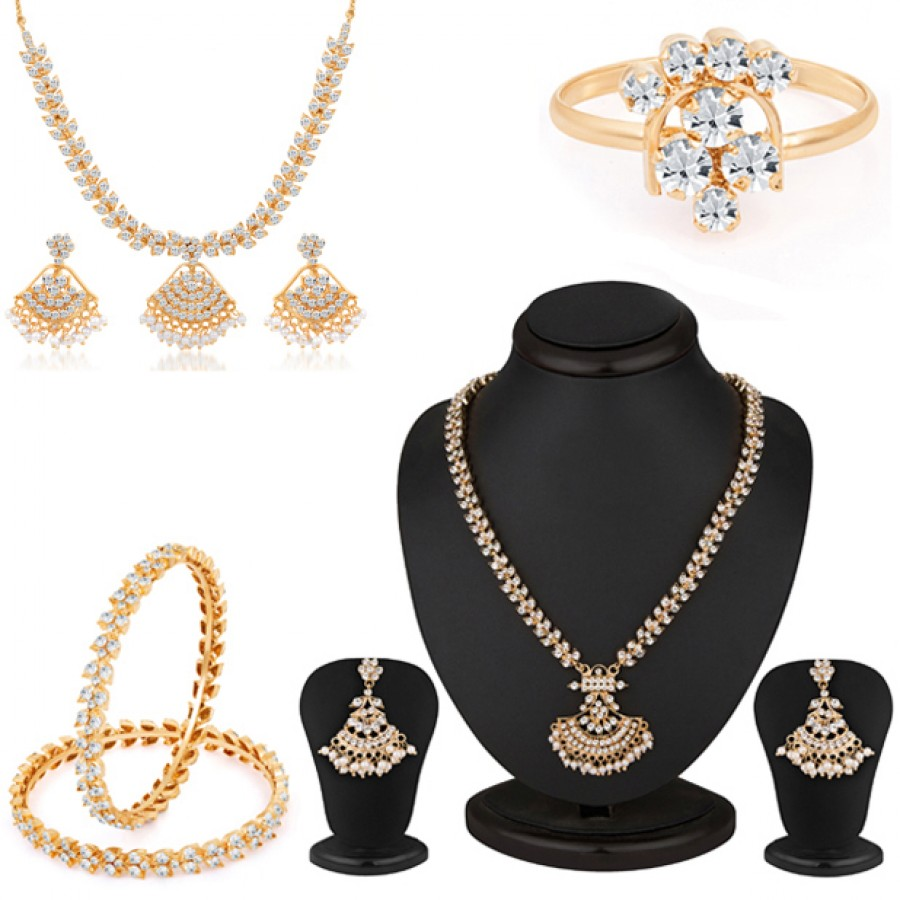 Buy Pissara Delightful Gold and Rhodium plated Combo Online
