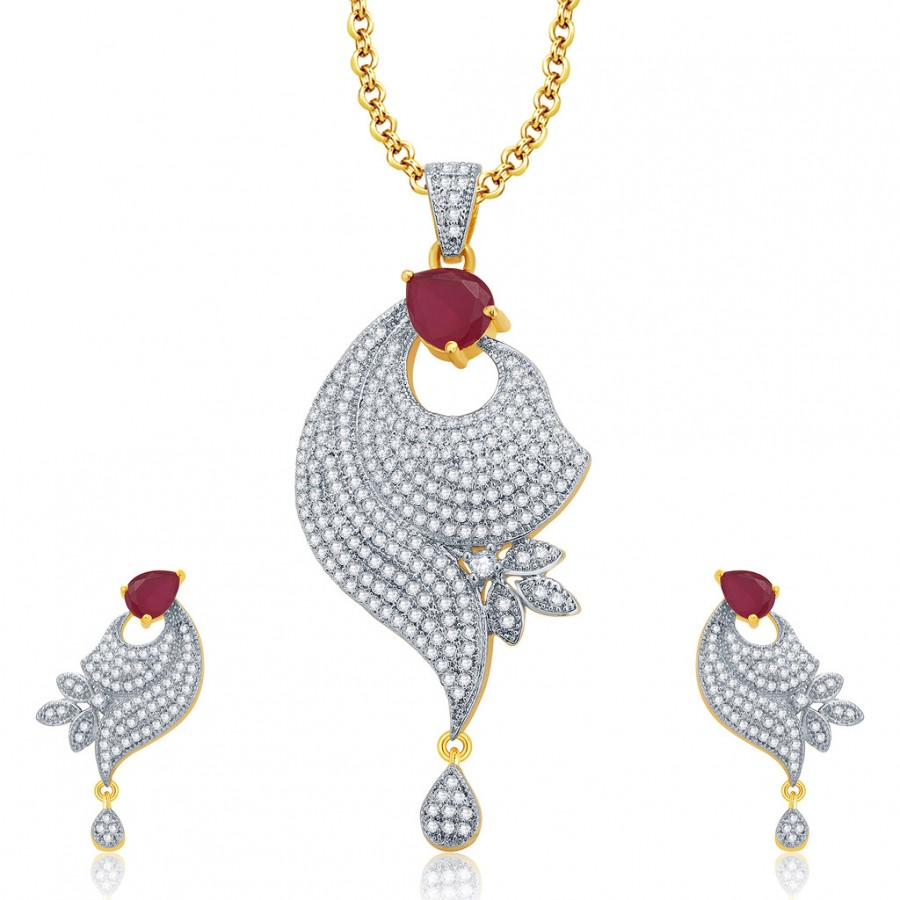 Buy Pissara Irresistable Gold And Rhodium Plated Ruby CZ Pendant Set For Women Online
