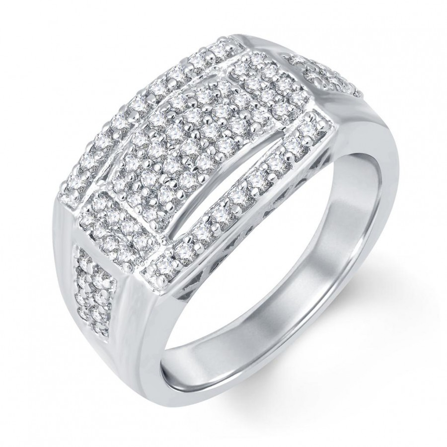 Buy Pissara Attractive Rhodium Plated Cubic Zirconia Ring For Men Online