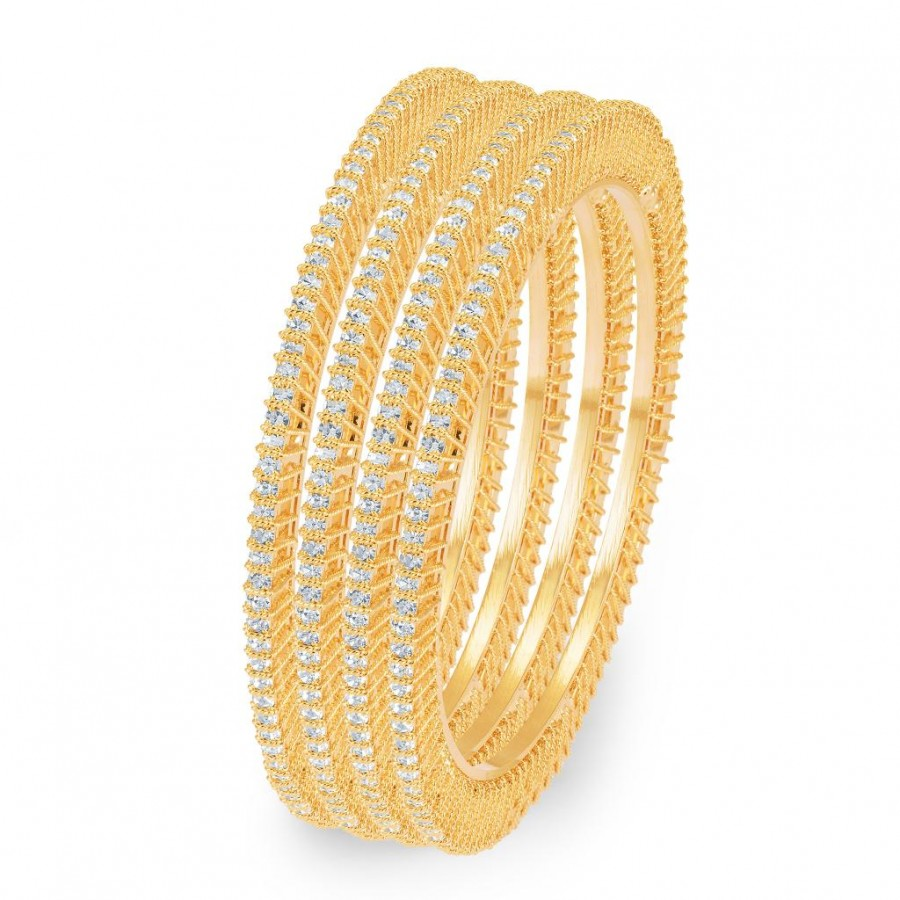 Buy Sukkhi Ritzzy Gold Plated AD Single Line Set of 4 Bangles for Women Online