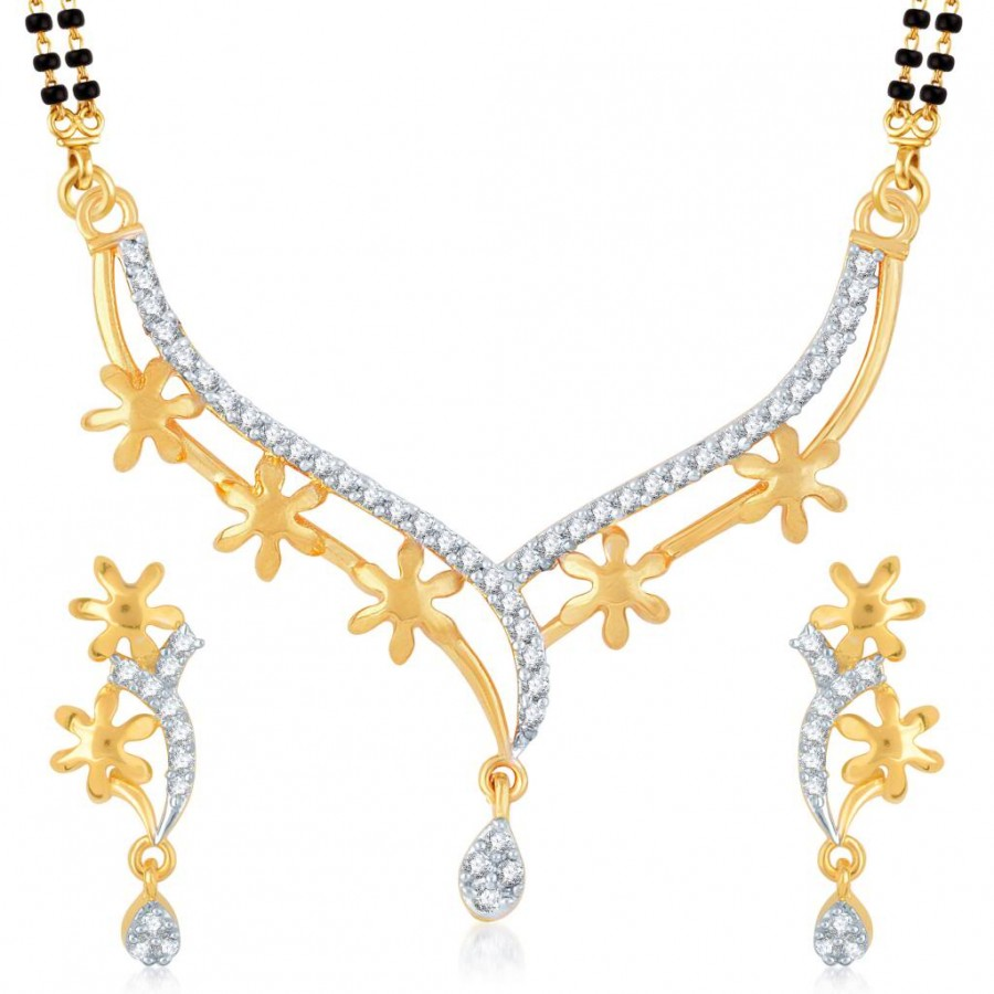 Buy Pissara Fine Gold and Rhodium Plated Cubic Zirconia Stone Studded Mangalsutra Set Online