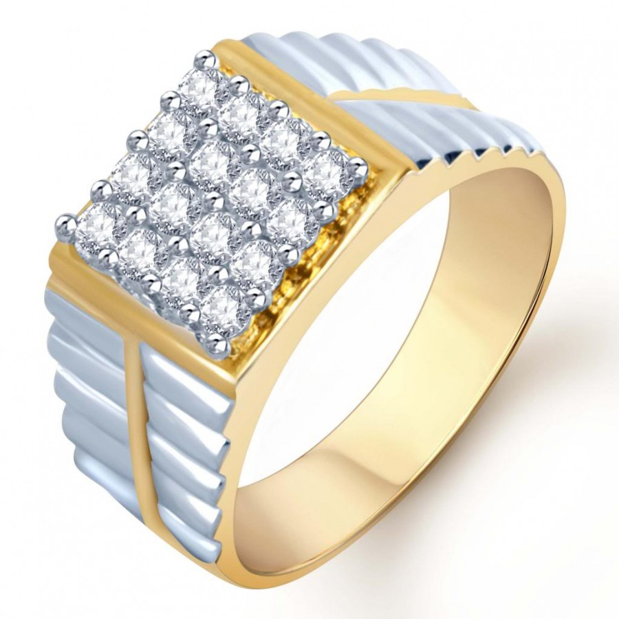 Buy Pissara Gold and Rhodium Plated CZ Ring for Men(111GRK830) Online