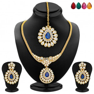 Buy Sukkhi Trendy Gold Plated AD Necklace Set with Set of 5 Changeable Stone Online
