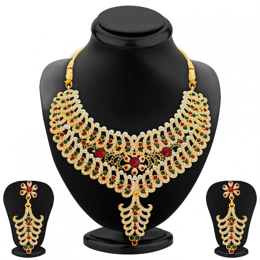 Buy Sukkhi Resplendent Gold Plated AD Necklace Set For Women Online