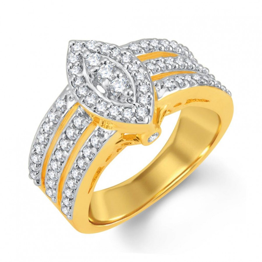 Buy Pissara Delightly Gold and Rhodium Plated Cubic Zirconia Ring Online