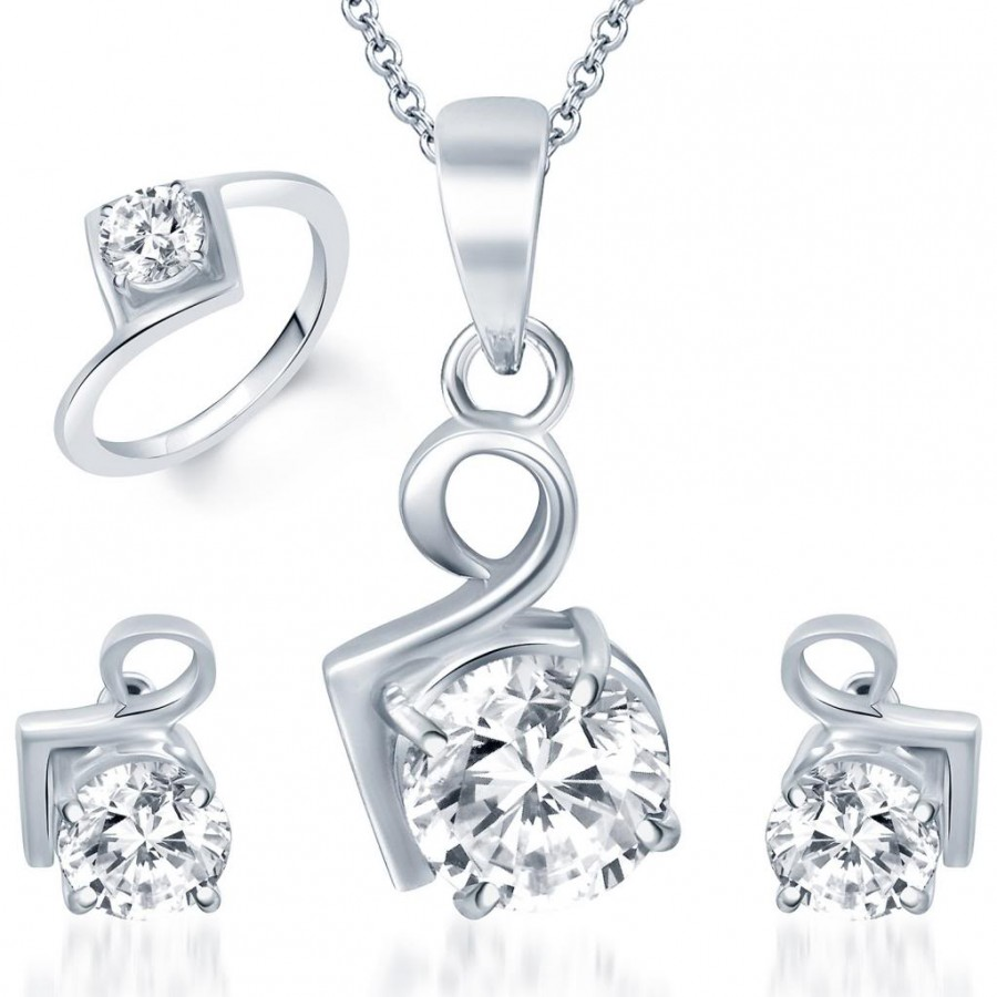 Buy Pissara Graceful Rhodium Plated Solitaire CZ Combo Online