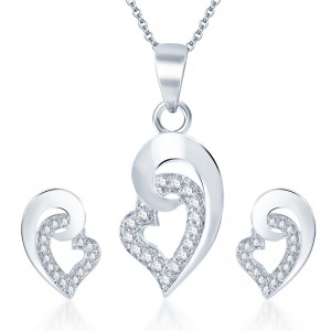 Buy Pissara Excellent Rodium plated CZ Pendant Set Online