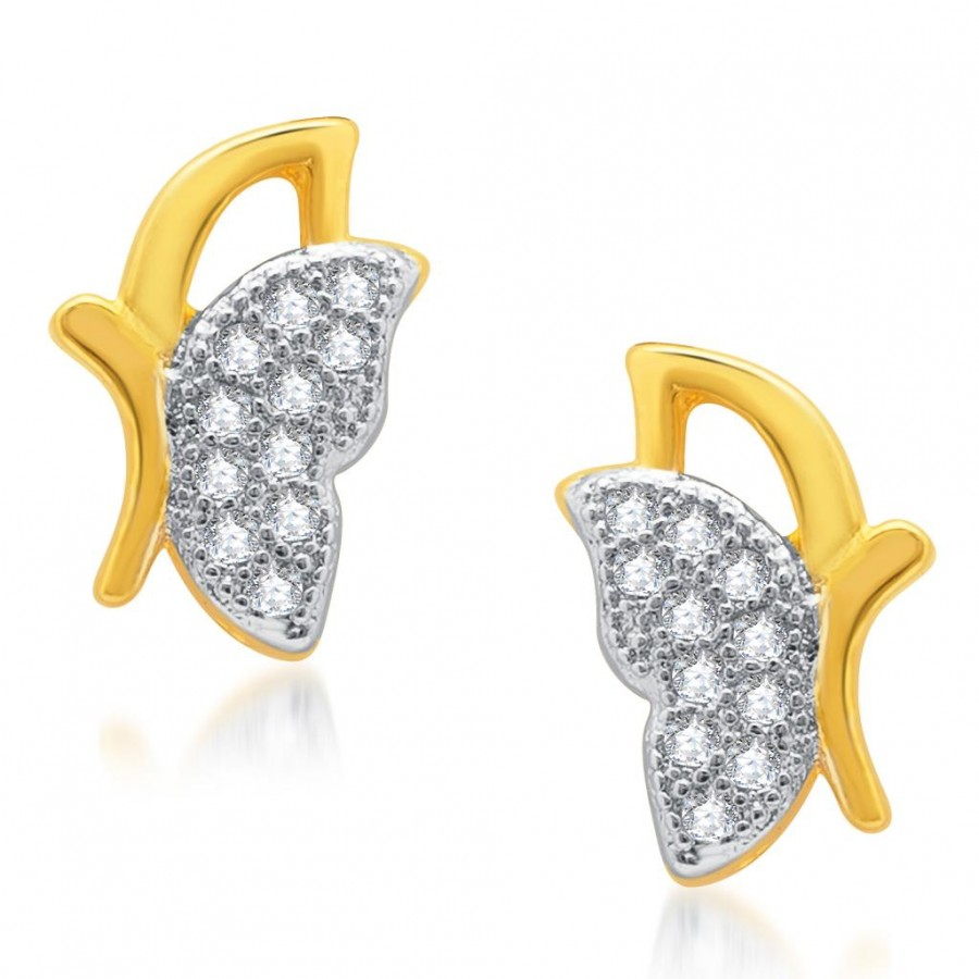 Buy Pissara Trendy Gold and Rhodium Plated Micro Pave CZ Earrings Online