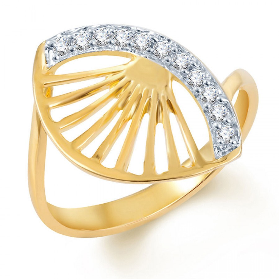 Buy Pissara Eye-Catchy Gold and Rhodium Plated CZ Ring Online
