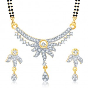 Buy Pissara Elegant Gold and Rhodium Plated Cubic Zirconia Stone Studded Mangalsutra Set Online