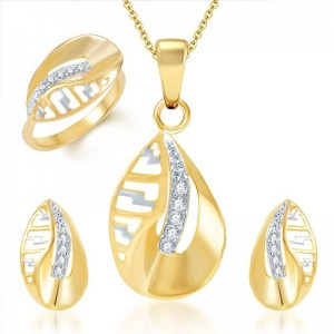 Buy Pissara Splendid Gold and Rhodium Plated CZ Pendant Set and Ring Combo Online