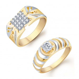 Buy Pissara Wavy 2 Piece Ring Combo for Men Online