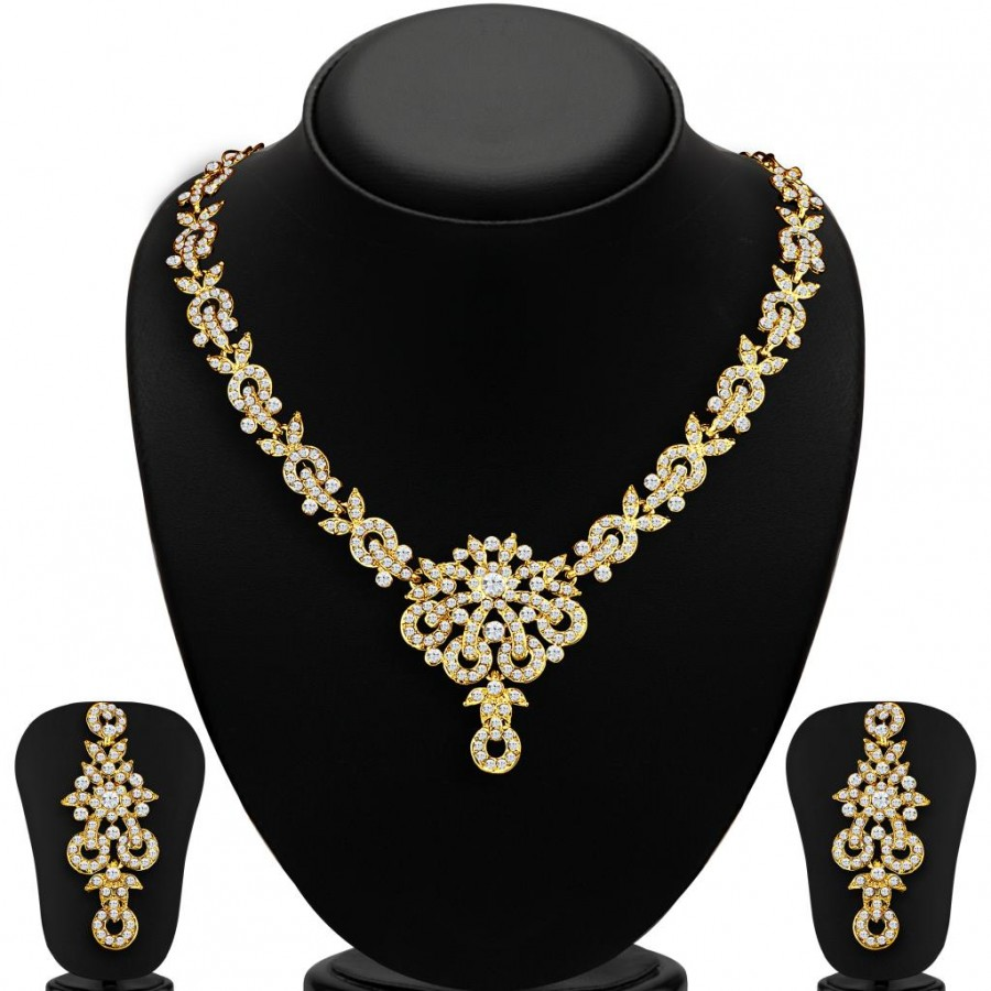 Buy Sukkhi Stunning Gold Plated AD Necklace Set for Women Online