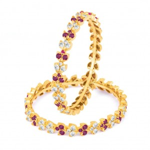 Buy Sukkhi Fine Maroon, and White Colour Stone Studded Bangles Online