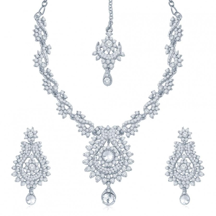 Buy Sukkhi Magnificent Rhodium Plated Australian Diamond Stone Studded Necklace Set Online