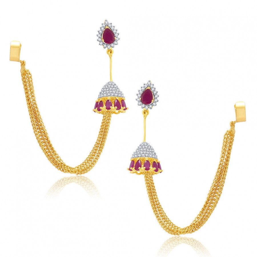 Buy Pissara Exhilarating Gold And Rhodium Plated Ruby CZ EarCuff For Women Online