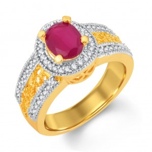 Buy Pissara Magnificent Gold and Rhodium Plated CZ and Ruby Studded Ring Online