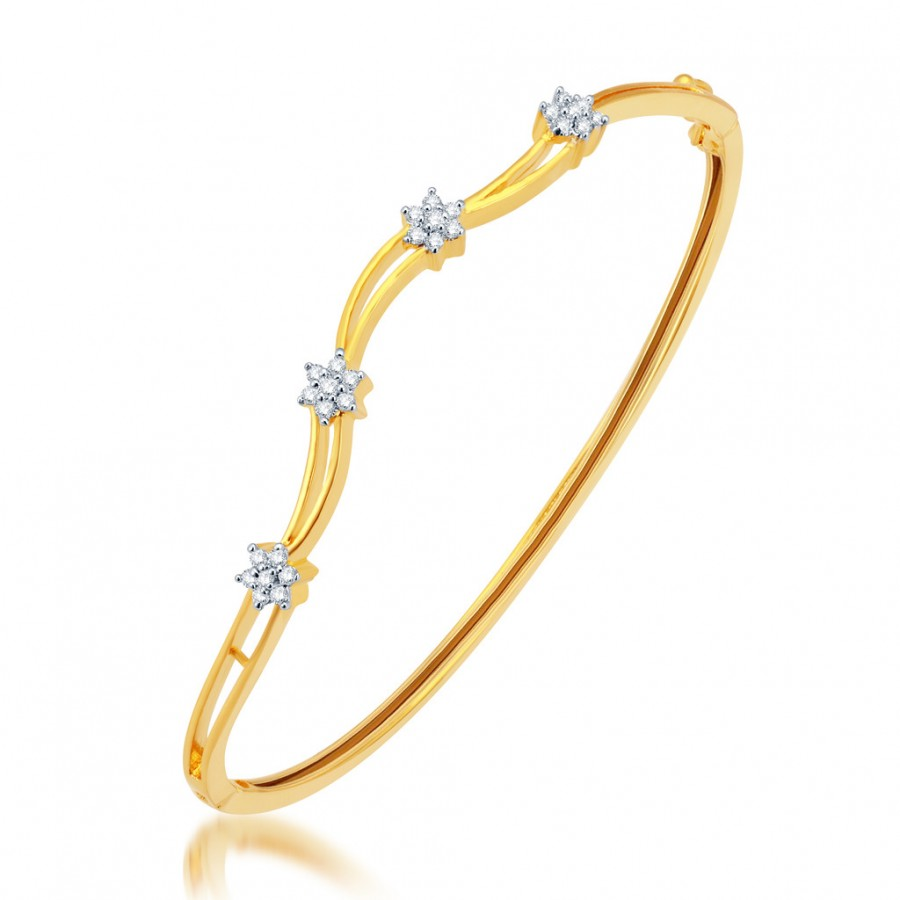Buy Pissara Delightful Gold and Rhodium Plated CZ Kada Online