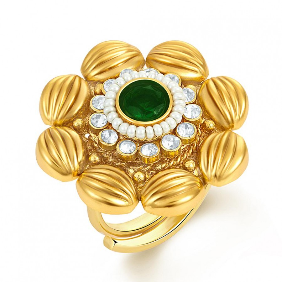 Buy Sukkhi Artistically Crafted Two Tone CZ Studded Ring Online