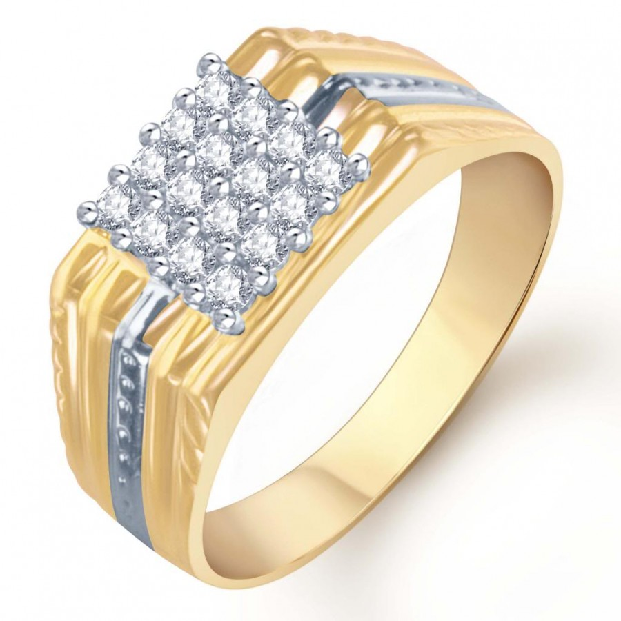 Buy Pissara Gold and Rhodium Plated CZ Ring for Men(101GRK600) Online