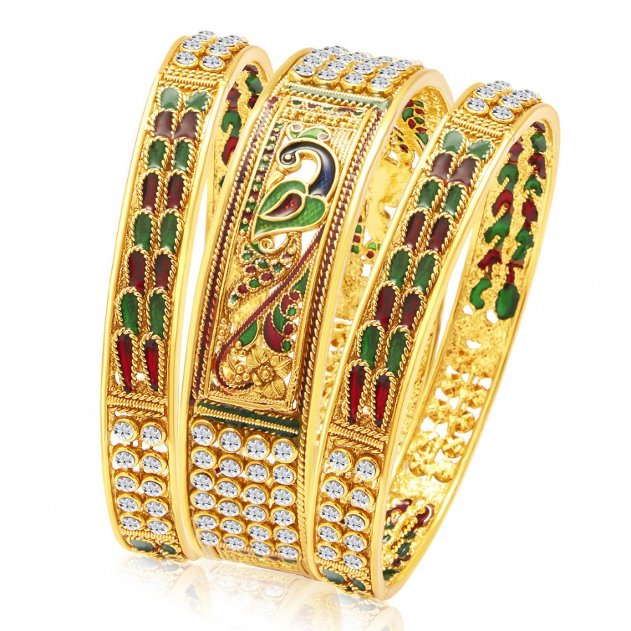 Buy Sukkhi Ritzy Peacock Gold Plated Bangle For Women Online