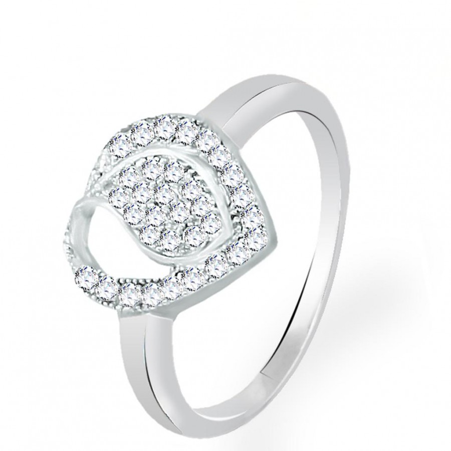 Buy Pissara Modern and Attractive Rhodium Plated CZ Ring Online